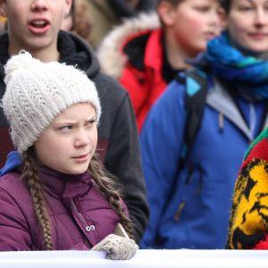 Greta Thunberg osallistui ilmastomarssille Hampurissa maaliskuun alussa.