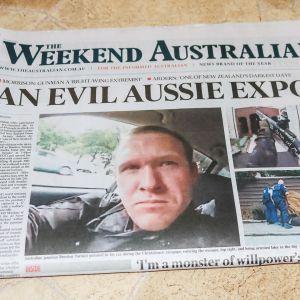 Weekend Australian -lehti, jonka kannessa epäillyn kuva.