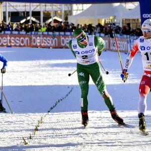 Miesten sprintin maaliintulo Falunissa.