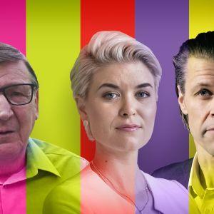 Raimo Vistbacka siniset, Susanna Koski kokoomus ja Pasi Kivisaari keskusta.