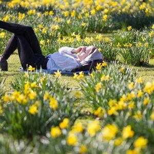 Nuori nainen lekottelee vihreällä nurmikolla Lontoossa helmikuun lopulla 2019.