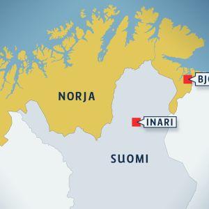 Kartta, jossa ovat Bjørnevatnin ja Inarin sijainnit Pohjois-Suomessa.