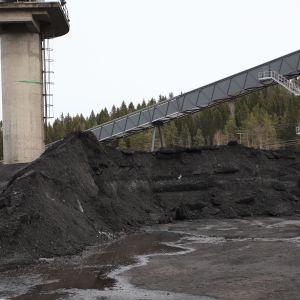 Lahti Energian Kymijärven voimalaitosten pihassa kivihiilikasa väistyy muiden polttoaineiden tieltä