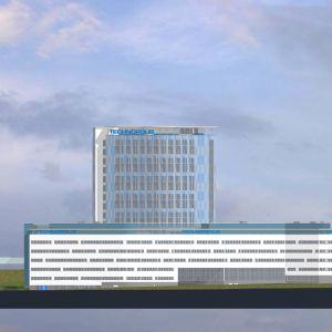 Havainnekuva Kuopion Viestikadulle rakennettavasti 16-kerroksisesta tornitalosta.