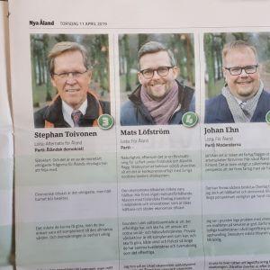 Ahvenamaan viisi kansanedustajaehdokasta 2019, kuva Nya Åland -lehdestä