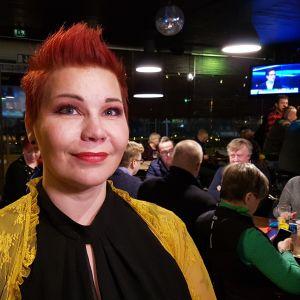 Paula Werning vaalivalvojaisissa Kouvolassa.
