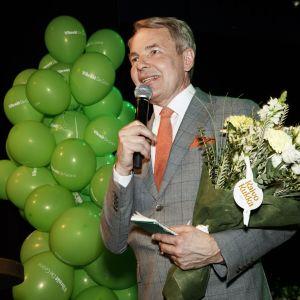 Vihreiden puheenjohtaja Pekka Haavisto puolueen eduskuntavaalien vaalivalvojaisissa Helsingissä 14. huhtikuuta 2019.