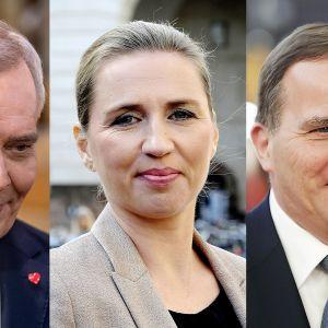 Antti Rinne, Mette Frederiksen ja Stefan Löfven