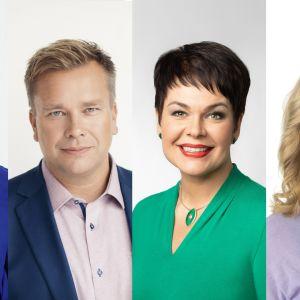 Kuvakollaasissa vasemmalta lukien Annikka Saarikko, Antti Kaikkonen, Hannakaisa Heikkinen, sekä Katri Kulmuni.