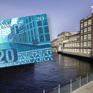 20 markan seteli yhdistettynä valokuvaan Tammerkosken maisemasta