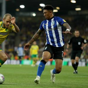 Teemu Pukki (Norwich) ja Liam Palmer (Sheffield Wednesday) kuvassa