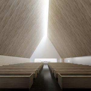 Ylivieskan uuden kirkon kirkkosali uusimmassa havainnekuvassa.