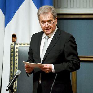 Tasavallan presidentti Sauli Niinistö valtiopäivien avajaisissa eduskunnassa Helsingissä torstaina 25. huhtikuuta