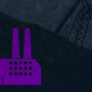 Piirroskuvitus hiilivoimalasta, joka tupruttelee savupilviä.