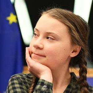 Greta Thunberg Euroopan parlamnetin istunnossa huhtikuussa 2019.