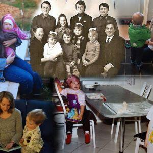 Korkialan, Porkolan ja Savikon perheitä kuvissa eri aikakausilla.