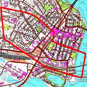 Valuma-alue jolta Kemijokeen päässyt öljy voi olla peräisin, on merkitty karttaan punaisella viivalla.