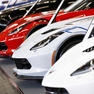 Urheiluautoja rivissä autoliikkeessä