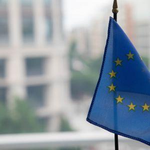 Pieni Euroopan unionin lippu ikkunalaudalla.