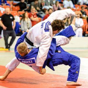 Markus Lambacka ja Axel Oscarsson Rovaniemellä judon pohjoismaiden mestaruuskisoissa.