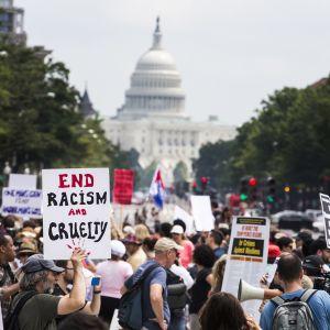 Ihmisiä Washingtonin kongressitalon edessä osoittamassa mieltään.