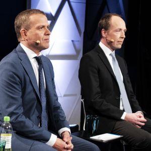 Petteri Orpo ja Jussi Halla-aho Ylen eurovaalitentissä.