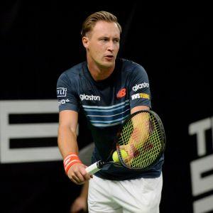 Henri Kontinen Tennisliigan nelinpeliottelussa Helsingissä 2018.