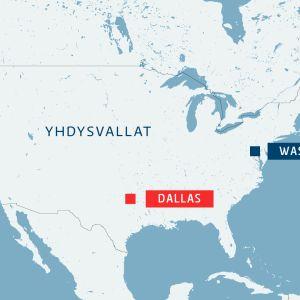 Kartta, jossa näkyy Dallasin sijainti Yhdysvalloissa.