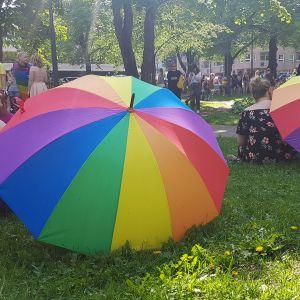 Lappeenranta Pride -kulkueeseen osallistuneet piknikillä Kasinonpuistossa