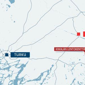 Kartta, jossa Turun, Someron ja Kiikalan lentokentän sijainnit.