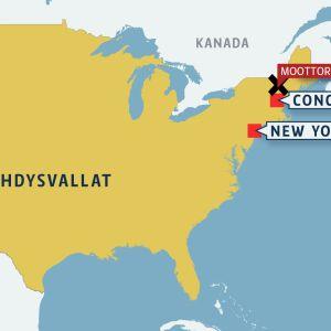 Kartta, jossa näkyy onnettomuuspaikka Concordin kaupungin yläpuolella.