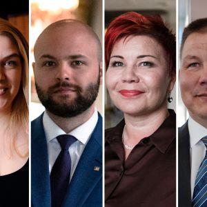 Kansanedustajat Marko Kilpi, Mai Kivelä, Joonas Könttä, Paula Werning ja Juha Mäenpää