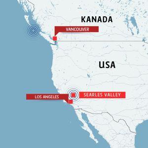 Kartta Kanada USA maanjäristykset