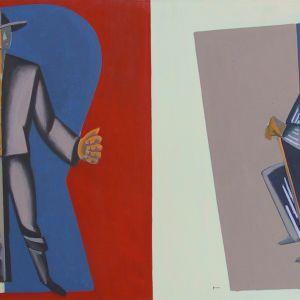 Unto Pusan värikäs öljyvärimaalaus nimeltä 1918 1950-60-lukujen vaihteesta.