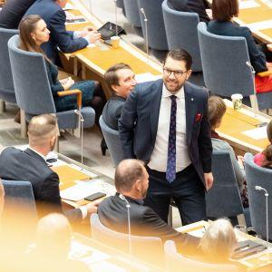 Jimmie Åkesson Ruotsin valtiopäivillä.