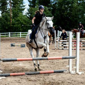 Tyttö hyppää valkoisella hevosella esteen yli.