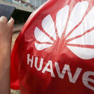 Huawei logo ja miehen kädessä Huawein puhelin.