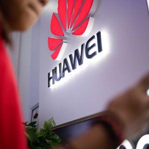 Mies tutkii puhelintaan ja taustalla näkyy Huawein logo.