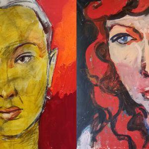 """Hannu Lukinin kaksi maalausta näyttelystä """"Tähtenä taivaalla""""."""