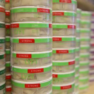 Nikotiinijauhepurkkeja nuuskakaupassa