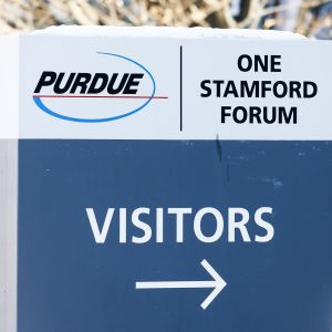 Lääkeyhtiö Purdue Pharman kyltti.