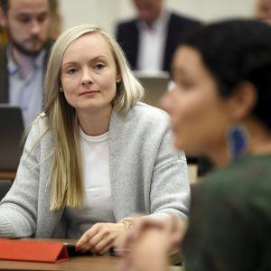 Sisäministeri, vihreiden puheenjohtaja Maria Ohisalo vihreän eduskuntaryhmän kesäkokouksessa Hämeenlinnassa keskiviikkona 28. elokuuta