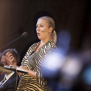 Komissaariehdokas Jutta Urpilainen eduskunnan suuren valiokunnan kuultavana Turun Eurooppa-foorumilla 30. elokuuta.