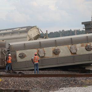 Union Pacific -junayhtiön rahtijunan vaunuja suistui raiteiltaan 10. syyskuuta Dupossa, Illinoisissa Yhdysvalloissa.