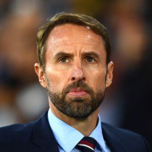 Englannin päävalmentaja Gareth Southgate lähikuvassa.