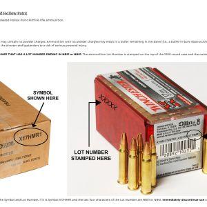 Kuvakaappaus patruunoiden varoituksesta Winchesterin nettisivuilta.
