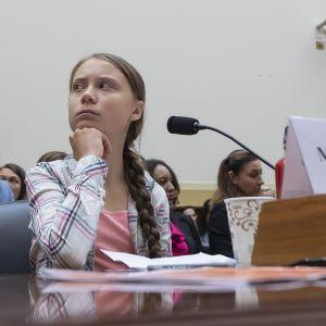 Ilmastoaktivisti Greta Thunberg USA:n kongressin kuultavana.