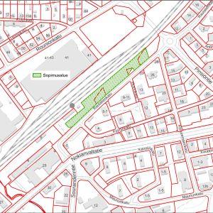 Kartta parkkialueen sijainnista.