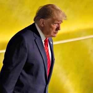 Donald Trump saapumassa Yhdistyneiden kansakuntien 74. yleiskokoukseen 24. syyskuuta 2019.