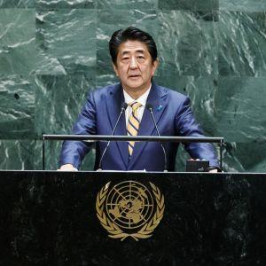 Japanin pääministeri Shinzo Abe piti puheen tiistaina YK:ssa New Yorkissa.